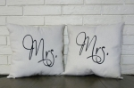 Fancy Mr. and Mrs. Pillow Set 16x16